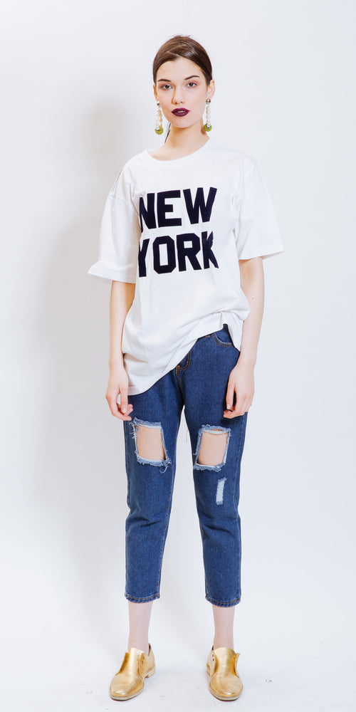 NEW YORK TEE WHITE & BLUE