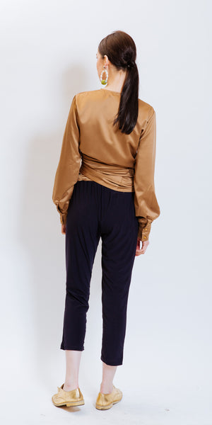 ADEGRINE WRAPOVER TOP - CAMEL