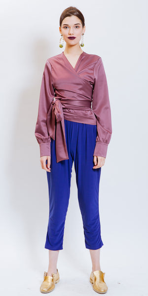 ADEGRINE WRAPOVER TOP - PURPLE