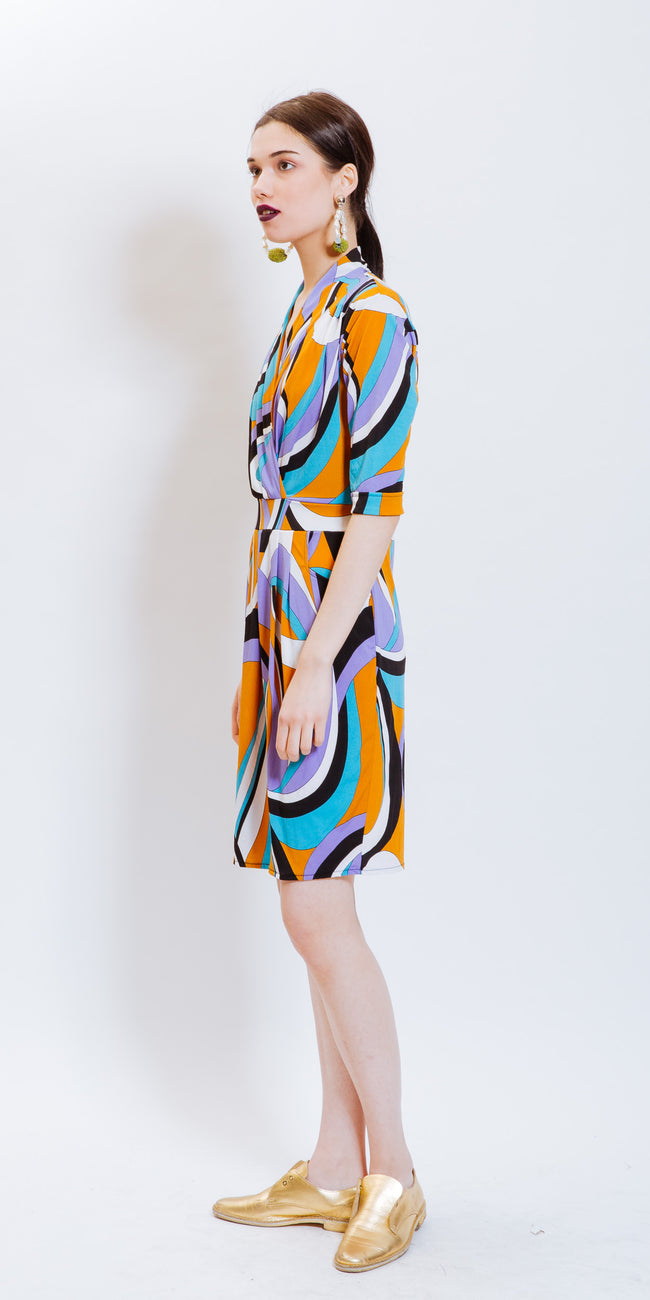 SADY V NECK PRINTED DRESS - PATTERN