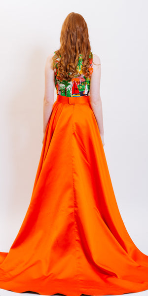 VINTAGE STORY ARIANA MAXI PLEATED SKIRT - ORANGE