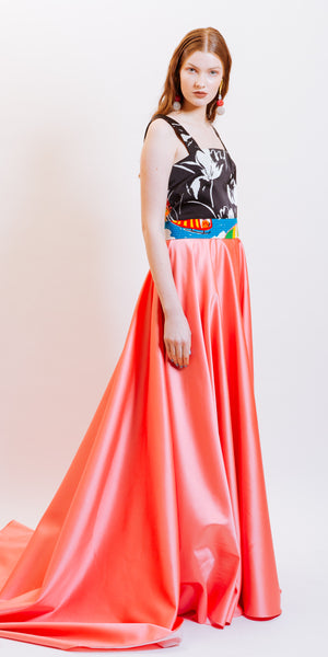 VINTAGE STORY ARIANA MAXI PLEATED SKIRT - PINK