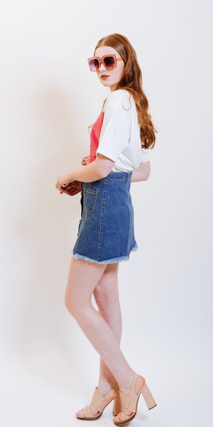 NOUNA DENIM SKIRT BLUE