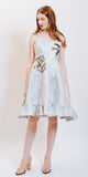 KYLIE BROCADE DRESS SILVER