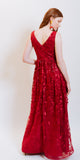 IZY SEQUINS LONG EVENING DRESS RED
