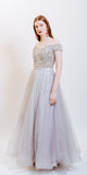 ODESSA SEQUINS EVENING DRESS SILVER