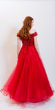 ODESSA SEQUINS EVENING DRESS RED