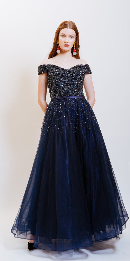 ODESSA SEQUINS EVENING DRESS NAVY