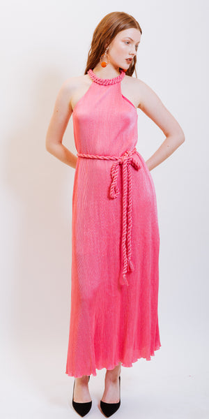 ARYA PLEATED BRAIDED COLLAR DRESS - PINK