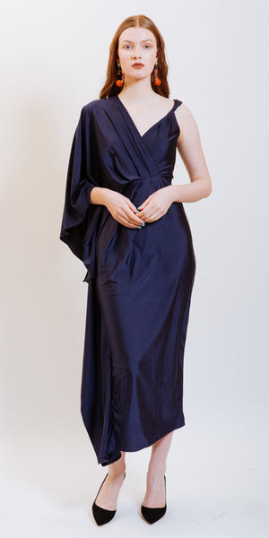 ADELYN ONE SLEEVE DRESS - NAVY