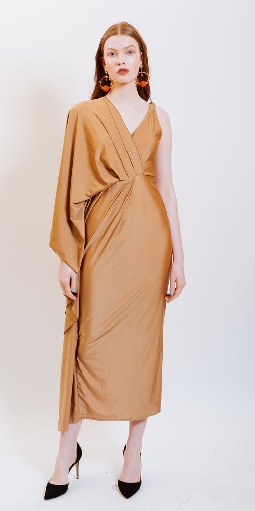 ADELYN ONE SLEEVE DRESS - NUDE