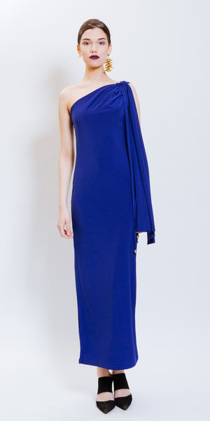 BRINLEY ONE SHOULDER DRESS - BLUE