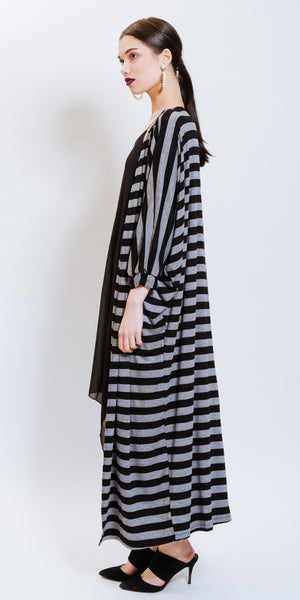 MACY COTTON MAXI GILET - STRIPED GREY/BLACK