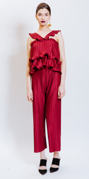SARAH PLEATED PANTS - BURGUNDY