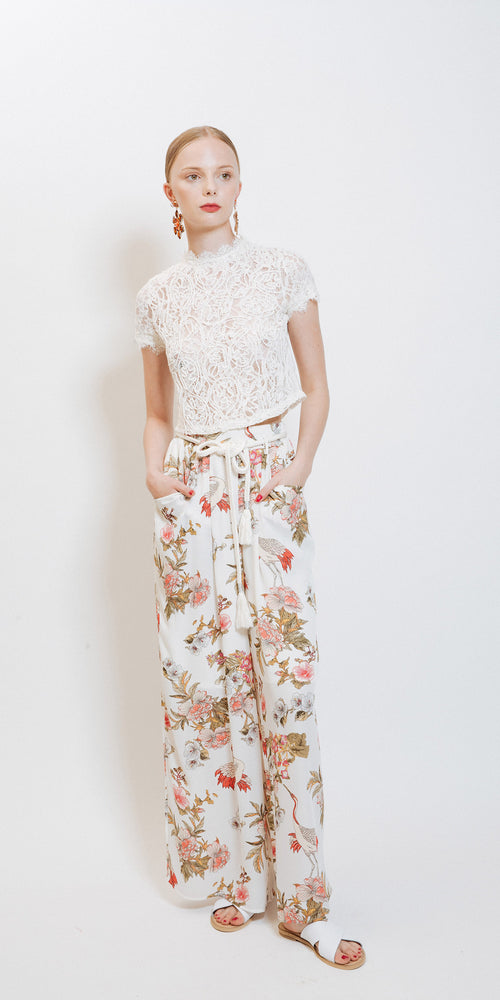 Nancy Floral Pants - White