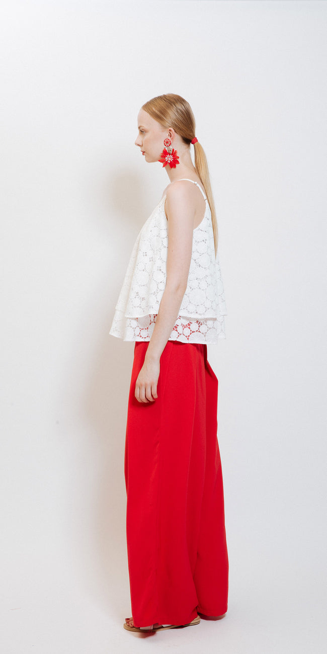 Sophie High Waisted Pants - Red