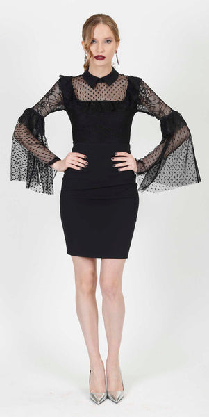 TALA LACE EVENING DRESS BLACK