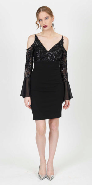 SIHAM OPEN SLEEVE SEQUINS DRESS BLACK