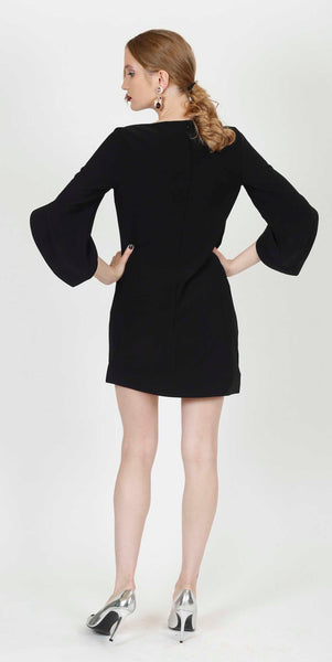 OPHELIE FLARED SLEEVES COCKTAIL DRESS BLACK