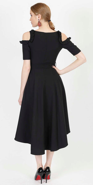 SOPHIA OPEN SHOULDER COCKTAIL DRESS BLACK