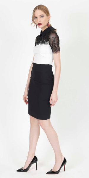 DANIA COCKTAIL DRESS BLACK AND WHITE