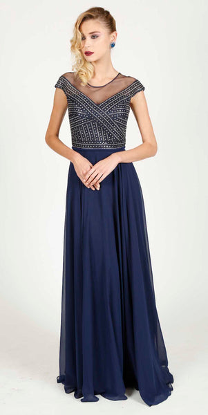 JUSTINE EVENING DRESS NAVY BLUE