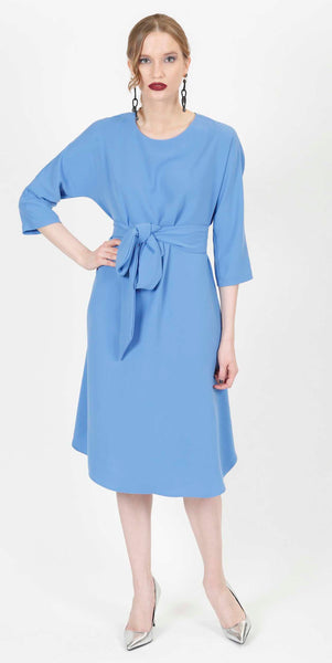SALMA BELTED COCKTAIL DRESS BLUE