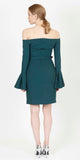 MOUNA OFF SHOULDER DRESS GREEN