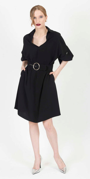 MINA BELTED COCKTAIL DRESS BLACK