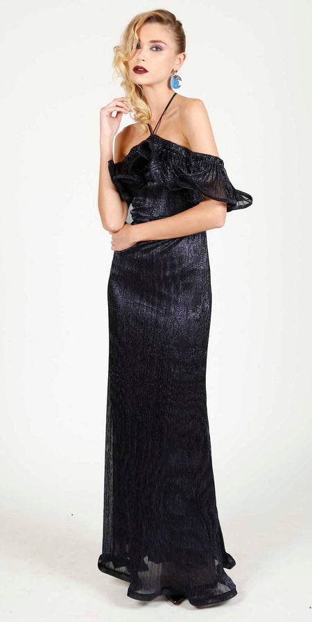 RIM VELVET OPEN SHOULDERS EVENING DRESS