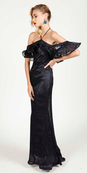 NAJLA METALLIC EVENING DRESS BLUE