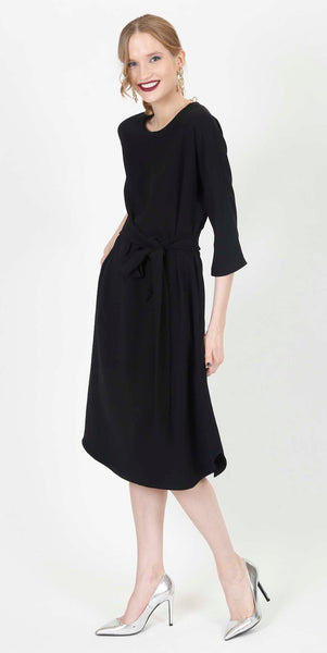 SALMA BELTED COCKTAIL DRESS BLACK