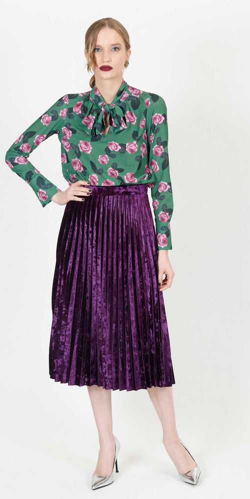 ALISSAR PLEATED VELVET SKIRT PURPLE
