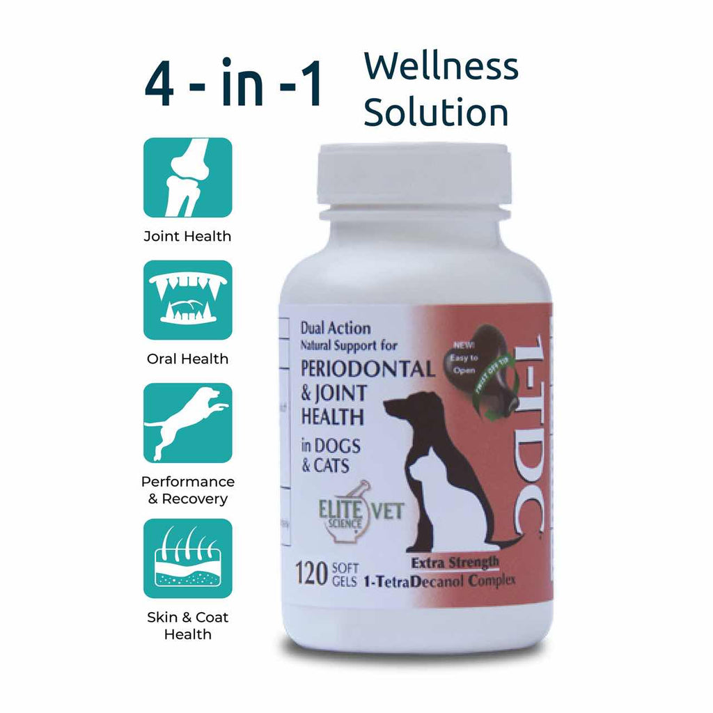 A bottle of the 1-TDC Dual Action Natural Support for Periodontal and Joint Health in Dogs and Cats containing 120 twist-off soft gel capsules beside graphics illustrating the benefits