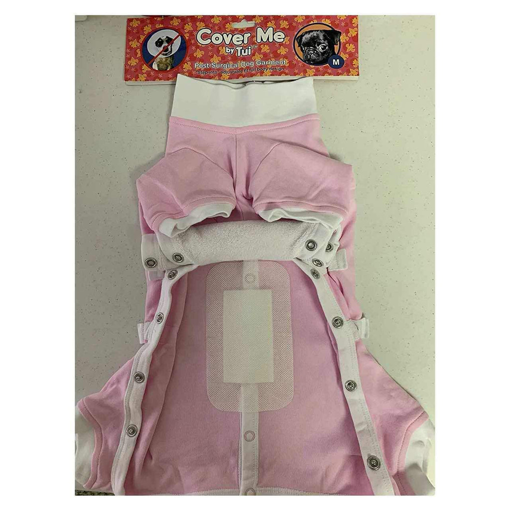 A large Cover Me Bandage for Dogs and Cats stuck to the inside of a pink pet recovery suit