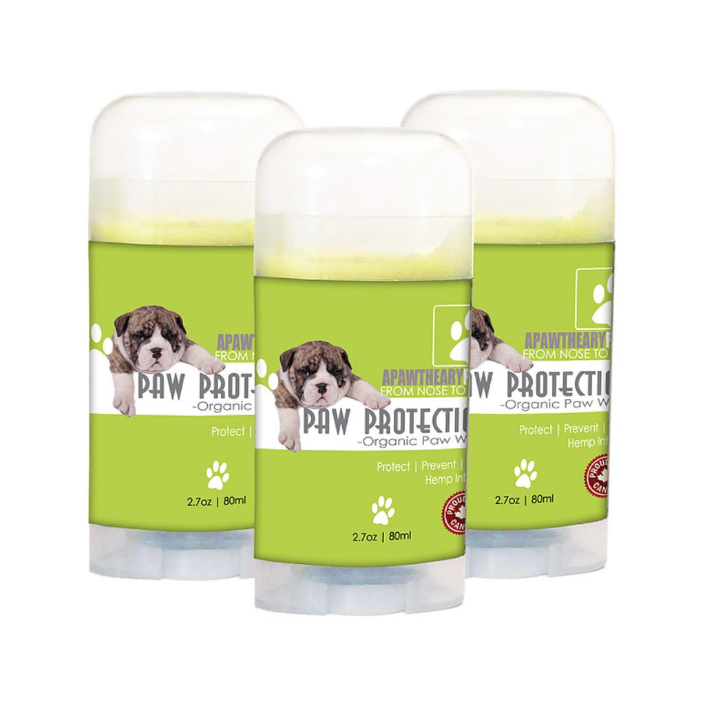 Three tubes of Apawthecary Pets Dog Paw Protection Wax