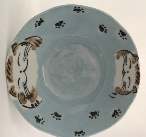 Cat large blue plate 20cm