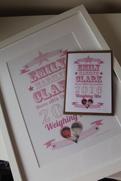 Personalised New Baby Girl Ribbon Print