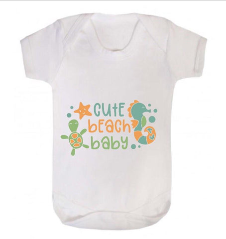 Cute Beach Baby Short Sleeve Body