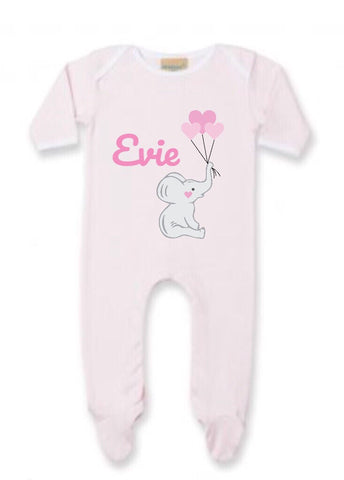 Personalised Elephant Baby Sleepsuit