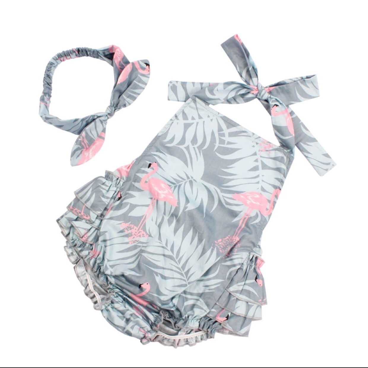 Flamingo Summer Romper With Headband