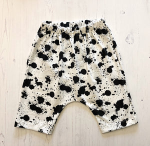 Black Splodge Harem Jersey Shorts