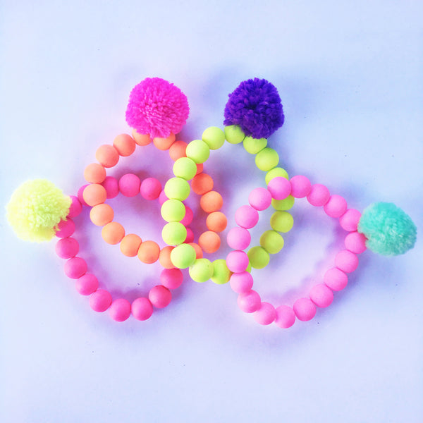 Colorful Pom Pom Bracelet
