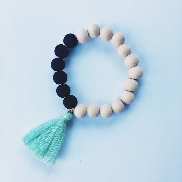 Wood & Glass Tassel Bracelet