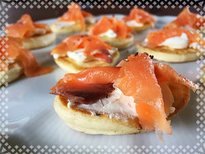 Blinis with a smoked salmon on cream cheese