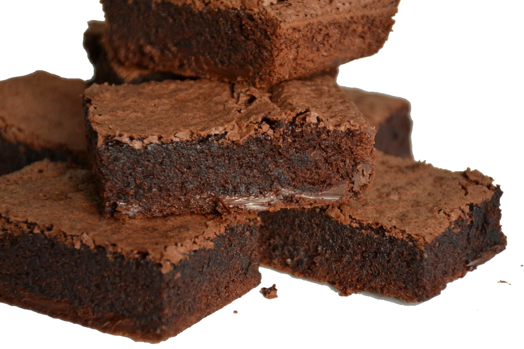 Oast to Host  Belgian Chocolate Brownie, Gluten and Wheat free, palm oil free, Belgian Chocolate may contain milk. these trays can be cut into 12 portions or 18 slightly smaller ones