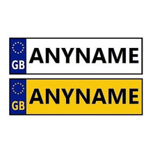 Load image into Gallery viewer, Childrens Personalised Number Plate Stickers for Kids Ride On Cars and Jeeps x 2