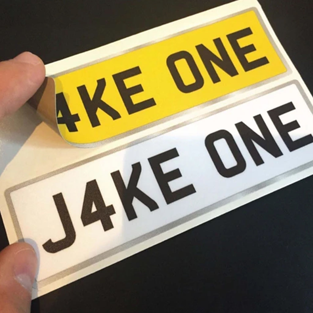 Childrens Personalised Number Plate Stickers for Kids Ride On Cars and Jeeps x 2