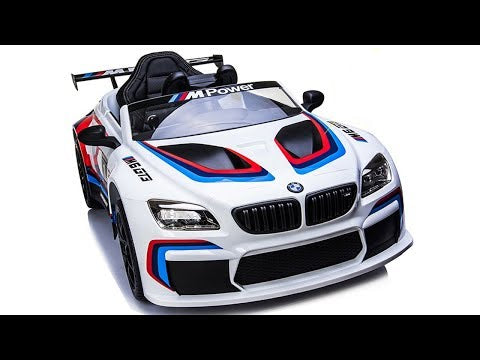 Licensed BMW M6 GT3 electric ride on car with EVA wheels and LEATHER seat upgrade- White