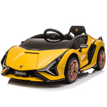 Load image into Gallery viewer, Latest 2020 Licensed Lamborghini Sian childrens electric ride on car with parental control - Yellow